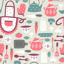 Cute Kitchen Vector Seamless P...