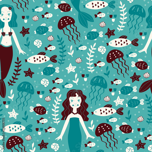 Cotton fabric Seamless Background with Mermaid and Marine Animals.