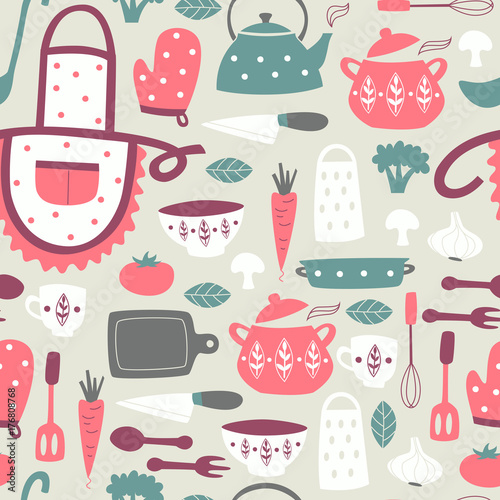 Cuadros en Lienzo Cute Kitchen Vector Seamless Pattern.