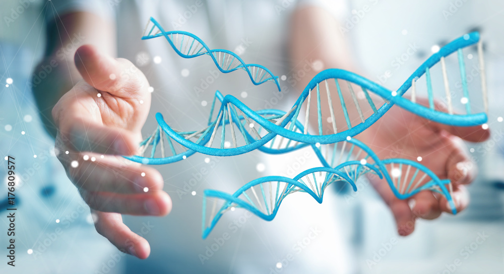 Fototapety, obrazy: Businessman using modern DNA structure 3D rendering