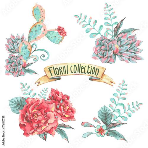 Leinwandbilder - Set of bouquet with blooming flowers