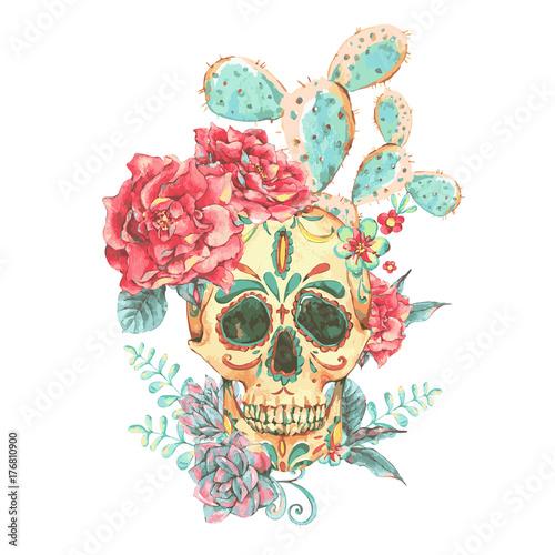 Printed kitchen splashbacks Vintage vector card with skull and roses