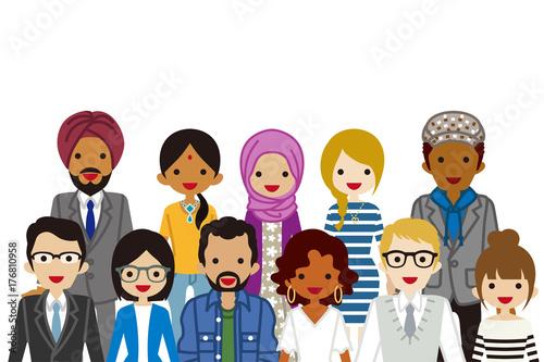 Obraz Assembling Multi Ethnic people, Waist up - fototapety do salonu