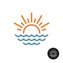 Sun Rays And Sea Waves Logo.
