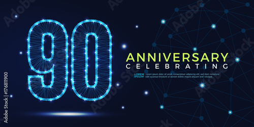 Valokuva 90 years anniversary celebrating numbers vector abstract polygonal silhouette