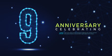9 Years Anniversary Celebrating Numbers Vector Abstract Polygonal Silhouette. 9th Anniversary Concept. Vector Illustration
