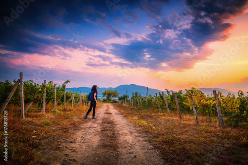 Poster Diepbruine Young girl with a backpack in Bulgarian vineyards on a Sunset ready to travel