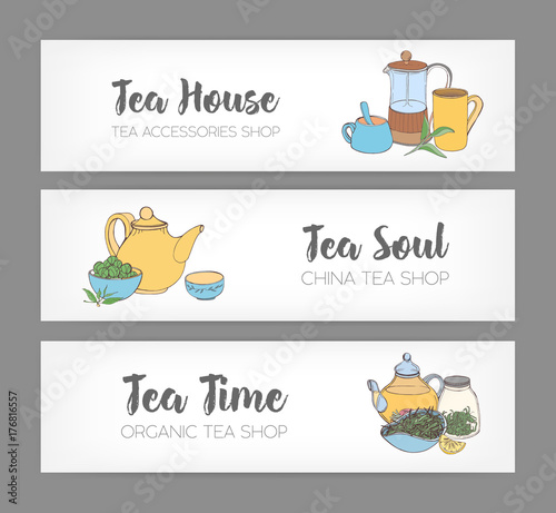 bundle of colorful horizontal banners with hand drawn french press