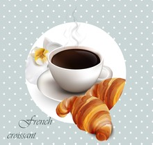 Coffee And Croissant Vector Ca...