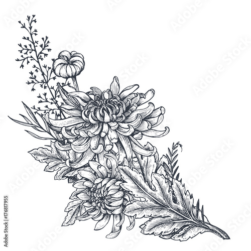 Photo Vector bouquet with hand drawn chrysanthemum flowers