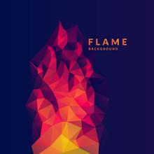 Flame Polygonal Object In The Dark Background.
