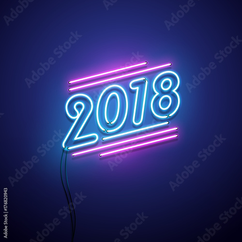 Fotografie, Obraz  New year 2018 neon sign. Vector background.