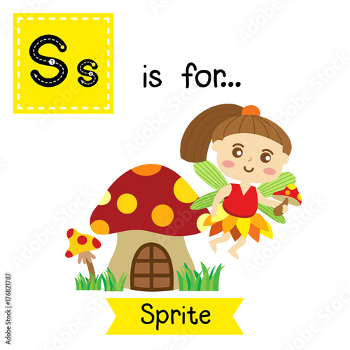 Cute Children ABC Alphabet S Letter Tracing Flashcard Of Sprite Flying Above Mushroom House For Kids