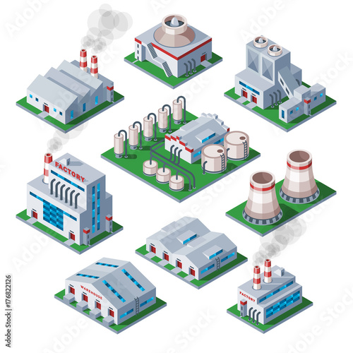 Fotomural Isometric 3d factory building industrial element warehouse architecture house ve
