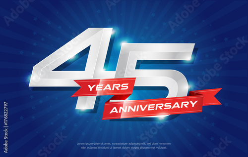 Photographie  45 years anniversary background with red ribbon and star on blue background