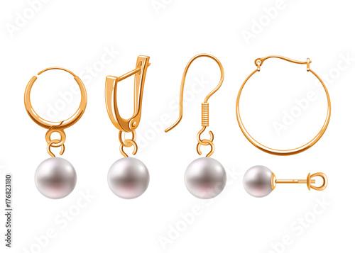 Realistic earrings jewelry accessories icons set. Fototapeta