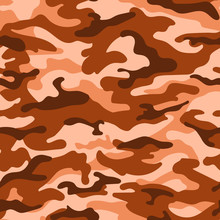 Military Camouflage Seamless Pattern, Orange Brown Color. Vector