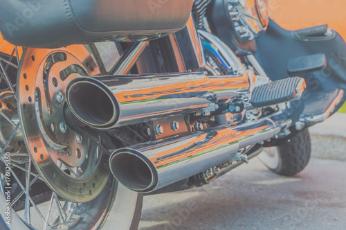 Poster Old cars two exhaust pipes and motorcycle engine