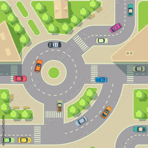 Foto op Aluminium Op straat Urban cars seamless texture. Vector background. Road intercharge with cars