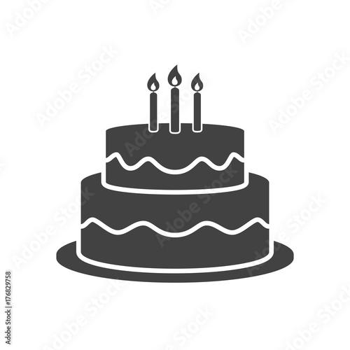 Fotografiet Birthday cake icon vector