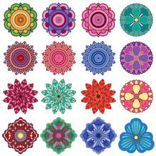 Set Of Twenty Five Stylish Color Flowers