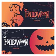 Halloween Big Sale Banner. Vector Illustration