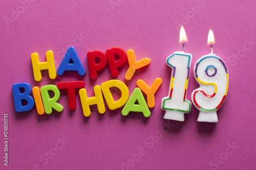 Number 19 Happy Birthday Celebration Candle