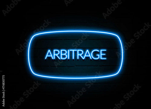 Arbitrage  - colorful Neon Sign on brickwall Canvas Print