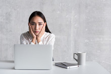Disappointed Lady Locating In Office