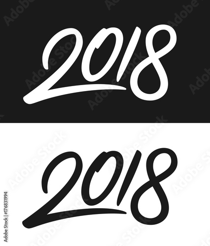 happy new year 2018 greeting card template calligraphic number 2018 with smooth contour on black