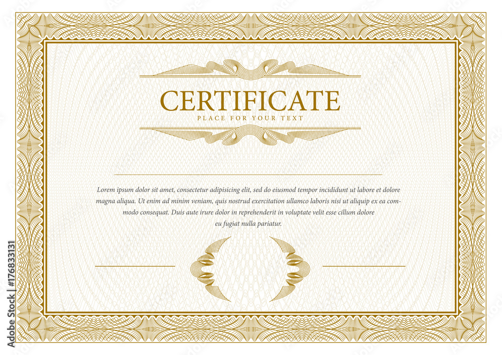 Fototapety, obrazy: Certificate. Template diploma currency border.
