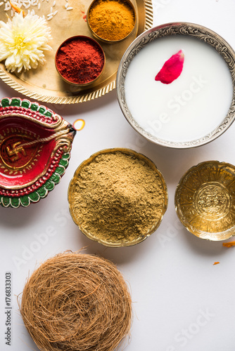 Abhyanga Snan on first day of Diwali - special herbal bath with ubtan or Utne, a mix herbal powder to have bath and scrub on the occasion of Diwali, selective focus