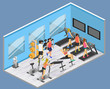 Isometric interior of gym. Flat 3D vector illustration.