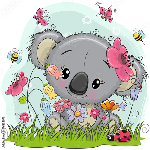 Naklejka premium Cute Cartoon Koala na łące