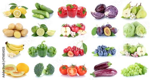 Poster Légumes frais Obst und Gemüse Früchte Apfel Salat Zitrone Tomaten Farben Collage Freisteller freigestellt isoliert