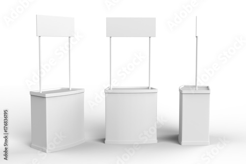 Fotografía  White blank advertising POS POI PVC Promotion counter booth, Retail Trade Stand Isolated on the white background