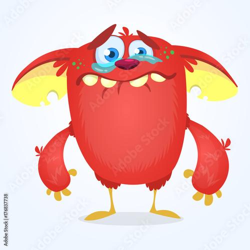 фотография Cute blue monster cartoon with funny expression