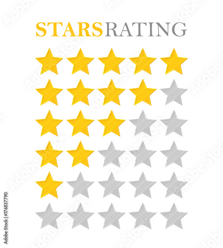 Golden Star Rating Five Stars Symbol Of Best Quality High Service