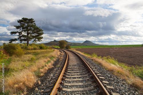 Single railway track in Rana, Czech Republic