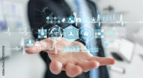 Fleur Businessman using digital medical interface 3D rendering