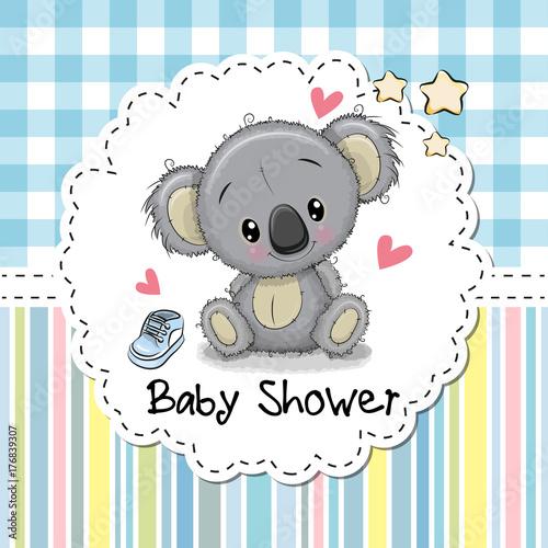 Fototapeta premium Baby Shower Greeting Card with Cartoon Koala