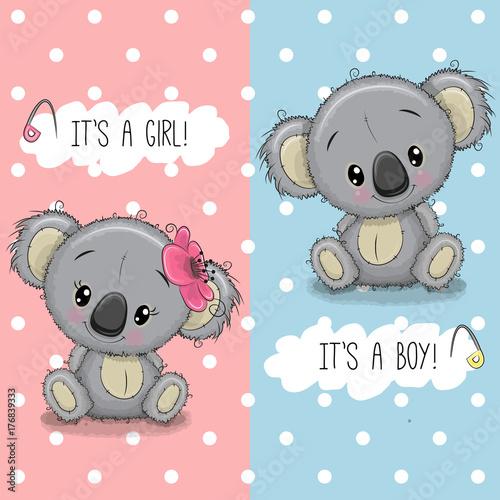 Fototapeta premium Baby Shower kartkę z życzeniami z chłopcem i dziewczynką Koala