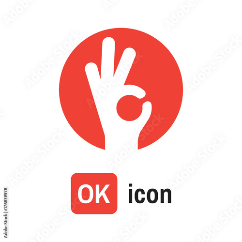 Fotomural ok hand icon. OK sign vector illustration