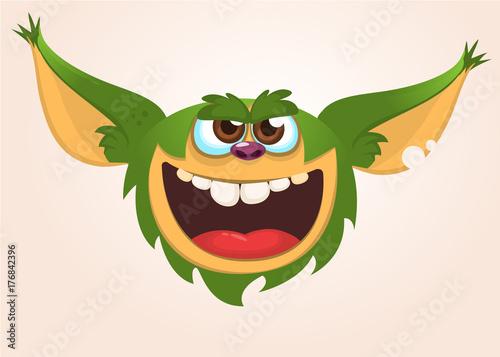 Платно Cartoon cute monster. Vector illustration of gremlin monster
