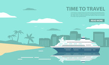 The Cruise Ocean Liner Passenger Of A Tropical Sea Landscape With Palm Trees And The Sandy Beach.The City On The Island For Summer Holiday Of Tourists During The Holiday.In Flat A Vector.