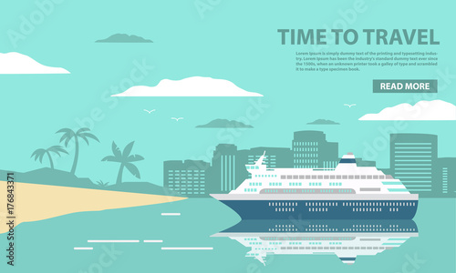 Photo The cruise ocean liner passenger of a tropical sea landscape with palm trees and the sandy beach