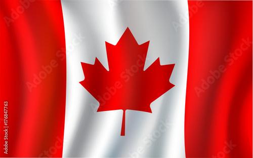 Plakat Kanadyjska flaga, liść klonu 3d symbol Kanada