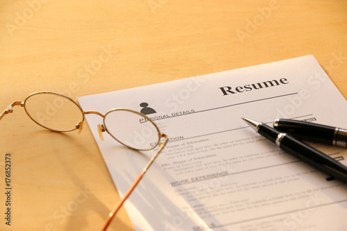 Resume Paper On The Table Buy This Stock Photo And Explore Similar