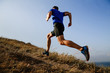 canvas print picture - dynamic running uphill on trail male athlete runner side view