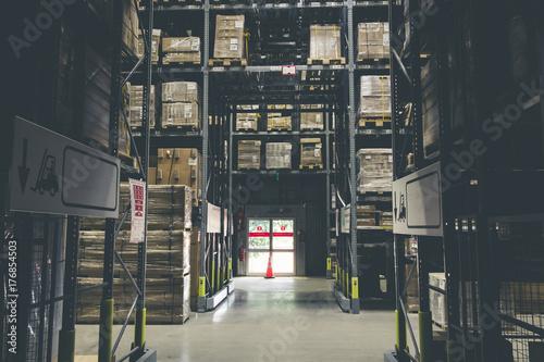 distribution storehouse or modern warehouse exterior with vintage tone Fototapeta